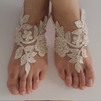 Beaded,champagne  lace wedding sandals, free shipping!