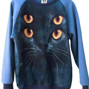 Marine Blue Psycho Kitten Cat Sweatshirt