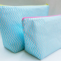 Pale Icy Blue + Shiny Silver Chevron Medium Travel Makeup/Cosmetics Bag with Matching Large Toiletries Travel Set with Yellow & Pink Zipper