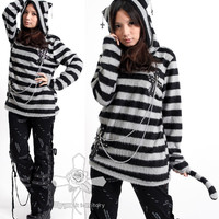 UNISEX Jrock POP Miyavi Visual Kei GRAY CAT Fetish Punk Striped EMO Fury Top