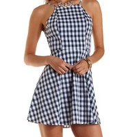 Racer Front Gingham Skater Dress by Charlotte Russe