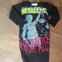 Metallica newborn baby gown- upcycled
