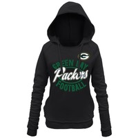 Women's Green Bay Packers 5th and Ocean by New Era Black Trick Play Pullover Hoodie