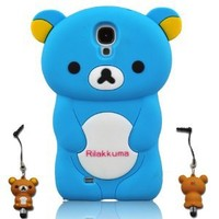 I Need 3D Cartoon Lazy Relax Bear Soft Silicone Case Cover for Samsung Galaxy S4 S Iv I9500 with 3D Stylus Pen (SKYBLUE)