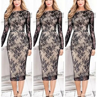 2015 Women Celebrity Belted Elegant Vintage Floral Lace Long Sleeve Tunic Cocktail Party Formal Bodycon Sheath Midi Dress = 5738839809