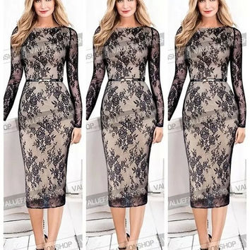 2015 Women Celebrity Belted Elegant Vintage Floral Lace Long Sleeve Tunic Cocktail Party Formal Bodycon Sheath Midi Dress = 1932225668