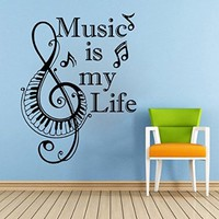 Piano Keyboard Wall Decals Music Quote Music is my Life Decal Vinyl Note Treble Clef Bedroom Decoration Wall Art Home Decor Sticker SM19