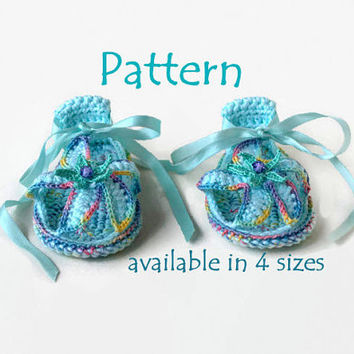 PATTERN Crochet baby slippers Crochet baby sandals Girl sandals Crochet baby booties Baby girl shoes Girls flip flops with crochet starfish
