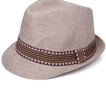 Tan And Brown Baby Prop Fedora Hat - CCHT116