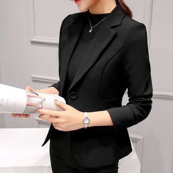 Brand Spring Slim Fit Women Formal Jackets Office Work Suit Open Front Notched Ladies Solid Black Coat Fashion Coats Tops