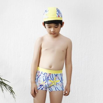 WTCandy Print Starfish Boxers Kids Chlid Swimwear Boy Children Trunks with Swimming Cap Patchwork Swimsuit Beach Bathing Suit