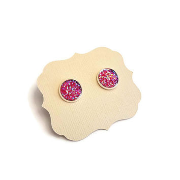 Red Druzy Earrings in Rose Gold Setting • Rose Gold Earrings • Pink Geode Earring • Gem post earrings • Pink Druzy Earrings