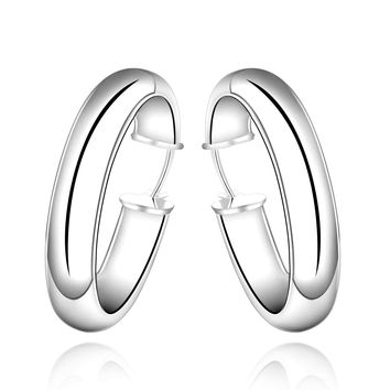 silver plated earrings circle heart hoop cuff bone MP