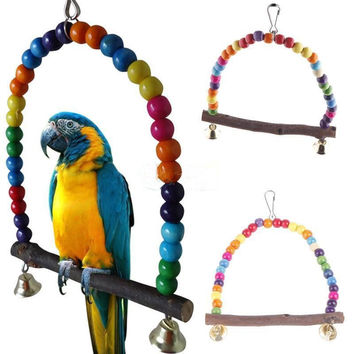 Colorful Bird Toy Parrot Swing Cage Toy Parakeet Cockatiel Budgie Lovebird Woodens Parrots Swings Toyss