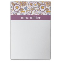 Purple and Orange Floral Pattern Post-it® Notes
