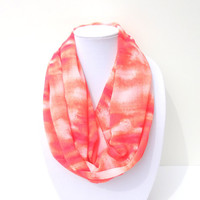 Infinity Scarf, Coral Infinity Scarf, Women Scarves, Abstract Scarf, Chiffon Scarf, Summer Scarf, Spring Scarf, Hostess Gift, Thank You gift