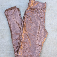 Copper Sequin Leggings