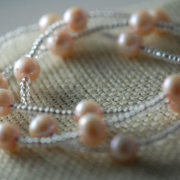 pink fresh water pearl & seed bead three strand bracelet. beaded pearls, handmade, sterling silver toggle clasp. wedding jewelry, bridal.