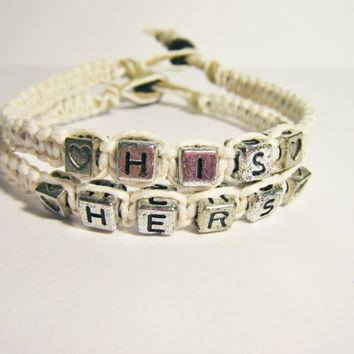 Personalized His Hers Couples Bracelets Double the Hearts Double the Love Set of 2