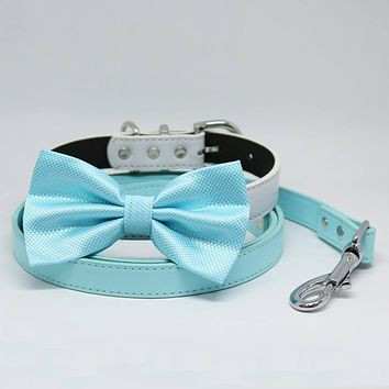 Baby Blue Bow tie Dog collar Blue Light Leash, Handmade, Puppy gift, Pets wedding, Something Blue