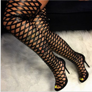 Dijigirls Sexy Peep Toe Cut Out Gladiator Over The Knee High Heels Women Sandals women stretch Boots women openwork High Boots