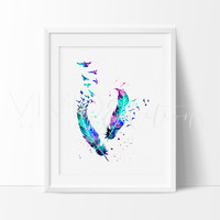 Birds & Feathers Watercolor Art Print