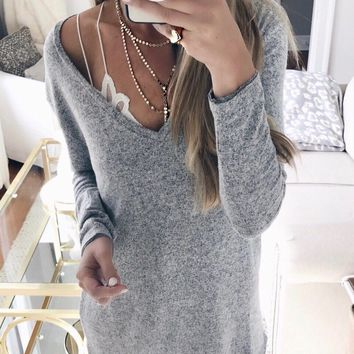 Women'S Long Sleeve V-Neck Knitted Sweaters