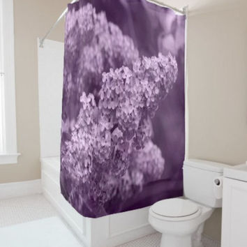 "Shower Curtain -  'Blooming Lilac' - 71"" by 74"" Home, Decor, Bathroom, Bath, Dorm, Girl, Bohemian, Boho, Hippie, Lilac, Floral. Nature"