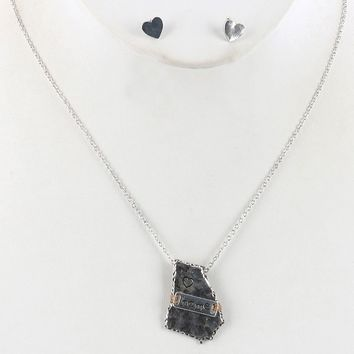 State Of Georgia Aged Finish  Heart Home Wire Wrapped Necklace Earring Set