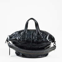"""Givenchy Black Crinkled Patent Top Handle """"Nightingale"""" Satchel"""