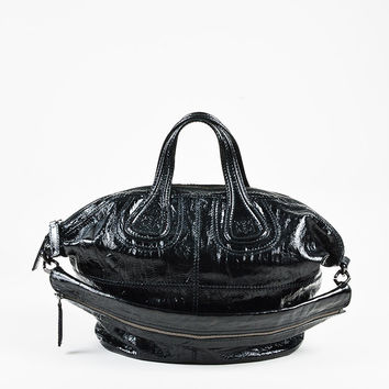 "Givenchy Black Crinkled Patent Top Handle ""Nightingale"" Satchel"