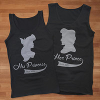 Aril and Eric Silhouette Inspired of Disney Couples Tank Top, Custom Couples Tank Top,Personalize Name Couples Tank,Awesome Couples Tank Top