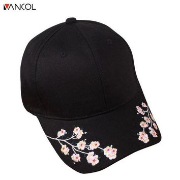 LMFCI7 Vancol Floral Women Baseball Cap Summer Cotton Sun Hat for Women Fitted Cap Female Embroidery Flower casquette bone gorras
