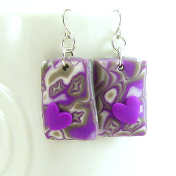 Abstract Purple Heart Dangle Earring / Polymer Clay Jewelry