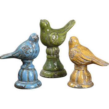 Uttermost Bird Trio 3 Ceramic Figurines in Blue, Yellow & Green