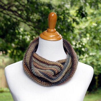 Crochet striped scarf, painted desert colors, infinity cowl, unisex cowl, nature lover gifts, merino wool blend, fall accessories, loose fit