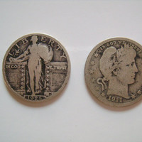 Two US Silver Quarter Coin Collection Including 1925 Standing Liberty and 1911 Barber Quarter