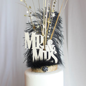 Mr. & Mrs. Gatsby black and gold feather cake topper