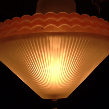 Vintage Art Deco Glass Ceiling Fixture, Double Shades