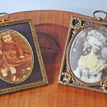 Antique Miniature Opalotype, Bubble Glass, Brass Picture Frames