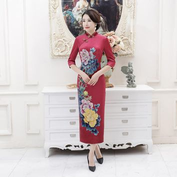 High Quality Chinese Style Women's Velvet Qipao Cheongsam Lady Spring Casual Floral Dress Plus Size S M L XL XXL XXXL 4XL T0051
