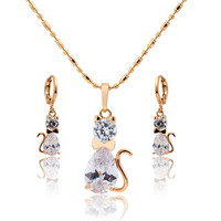 "Crystal Kitty Cat Baby Children Kids Girls Jewelry Sets 15"" Necklace Earrings Hot Gifts"