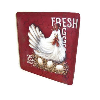 Hand Painted Chicken On Square Wood Plate | Fresh Eggs Sign With Chicken