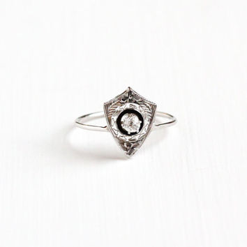 Antique Art Deco 14k White Gold Diamond Black Enamel Ring - Vintage 1920s Fine Vintage Stick Pin Conversion Filigree Fine Engagement Jewelry