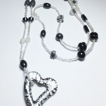 Floating Heart Black and Silver Glass Beaded Necklace