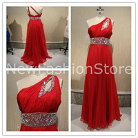 A Line One Shoulder Sleeveless Beading Floor Length Red Prom Evening Dreee