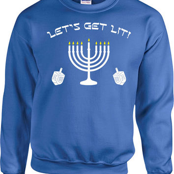 Gifts For Hanukkah Sweater Holiday Outfit Chanukah Sweatshirt Hanukkah Jumper Holiday Pullover Holiday Season Let's Get Lit Hoodie - SA693