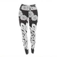 "Laura Escalante ""Midnight Florals"" Black Sunflower Yoga Leggings"