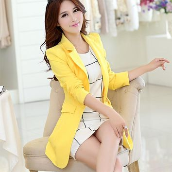 6 Colors New 2017 Autumn Spring Long Elegant Women Blazers Candy Colors Causal Slim Ladies Suits Jackets Long Sleeve