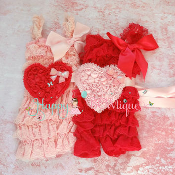 U pink Valentine romper, Pink hearts romper set, Pink romper,Birthday outfit,baby girls outfit,Vantines Day, heart flower sash, baby romper,